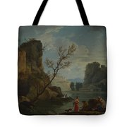 Joseph Vernet   A River With Fishermen Tote Bag