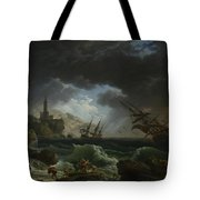 Joseph Vernet   A Shipwreck In Stormy Seas Tote Bag