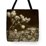 Joshua Trees And Boulders In Infrared Sepia Tone Tote Bag