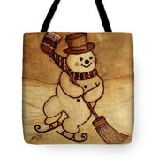 Joyful Snowman  Coffee Paintings Tote Bag