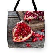 Juicy Ripe Pomegranates On Vintage Wood  Tote Bag