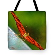 Julia Heliconian Butterfly Spreading Its Wings In Iguazu Falls National Park-brazil  Tote Bag