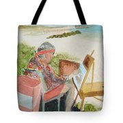 Julia Painting At Boynton Inlet Beach  Tote Bag