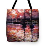 July Fourth Fireworks On The Hudson Tote Bag