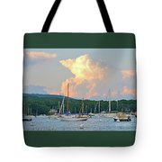 July Sky Over A Maine Harbor Tote Bag