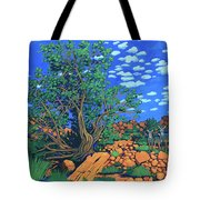 Juniper Trees And Deer Tote Bag