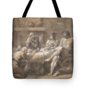 Jupiter And Mercury In The House Of Baucis And Philemon Tote Bag