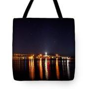 Jupiter Florida  Inlet Lighthouse At Night Tote Bag