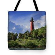 Jupiter Lighthouse Sq Tote Bag