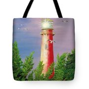 Jupiter Lighthouse - Sunburst Tote Bag