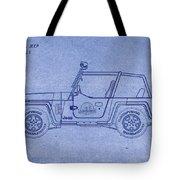 Jurassic Park Jeep Blueprint Tote Bag