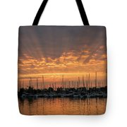 Just A Sliver Of The Sun - Sunrise God Rays At The Marina Tote Bag