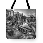 Just Before Sunset B W Reedy River Falls Park Greenville South Carolina Art Tote Bag