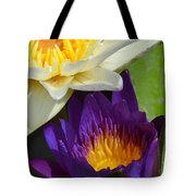 Just Opening Purple Waterlily With White - Vertical Tote Bag