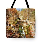 Flows Down The Cliff Tote Bag