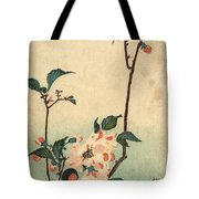 Kaido Ni Shokin II - Small Bird On A Blossoming Branch II Tote Bag