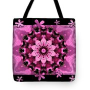 Kaleidoscope 1 With Black Flower Framing Tote Bag
