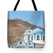 Kamari Church And Mountain Tote Bag