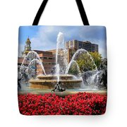 Kansas City Fountain Ablaze In Crimson Tote Bag