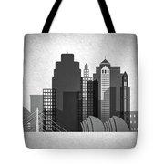 Kansas City Skyline In Black And White Tote Bag