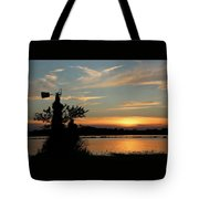 Kansas Sunset And Windmill Tote Bag
