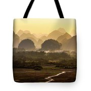 Karst Mountains Scenery In Sunset Tote Bag
