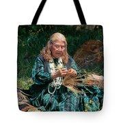 Kashia Pomo Woman Weaving Basket Tote Bag
