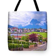 Kastelruth And Schlern Peak In Alps Landscape View Tote Bag