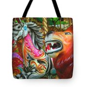Kate The Zebra And  Lion Carousel  Tote Bag