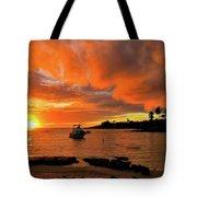 Kauai Sunset And Boat At Anchor Tote Bag