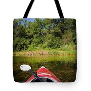 Kayak On A Forested Lake Tote Bag