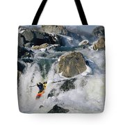 Kayaker Running Great Falls Tote Bag