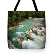 Kayaker Shooting The Cold Emerald Green Alpine Water Of The Uppe Tote Bag