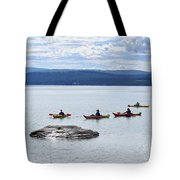Kayakers Paddle To Fishing Cone On Yellowstone Lake Tote Bag