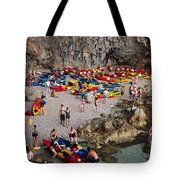 Kayaks On A Beach Tote Bag