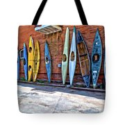 Kayaks On A Wall  Tote Bag