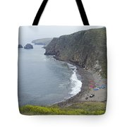Kayaks On Rocky Beach At Scorpions Tote Bag