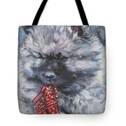 Keeshond Puppy With Christmas Stocking Tote Bag
