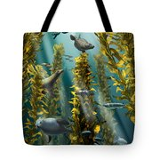 Kelp Forest With Seals Tote Bag