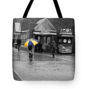Kendall Square Rainy Day Cambridge Ma Blue And Yellow Tote Bag