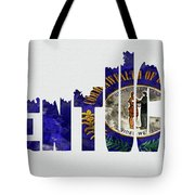 Kentucky Typography Map Flag Tote Bag
