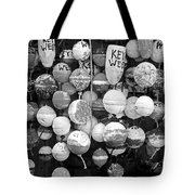Key West Lobster Buoys Black And White Tote Bag