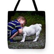Kid And His Dog Tote Bag