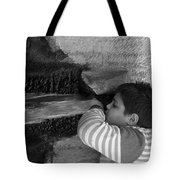 Kid Drinking From The Fountain Tote Bag
