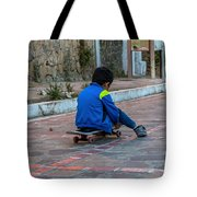 Kid Skateboarding Tote Bag