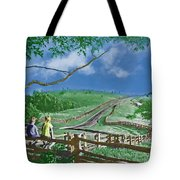 Kids On A Fence Tote Bag