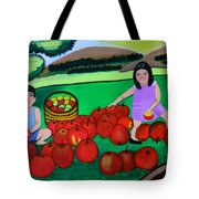 Kids Playing And Picking Apples Tote Bag