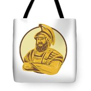 King Agamemnon Arms Crossed Circle Drawing Tote Bag
