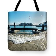 King Tide On The Boston Waterfront Boston Ma Tote Bag