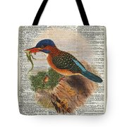 Kingfisher Bird With A Lizard Illustration Over A Old Dictionary Tote Bag by Anna W